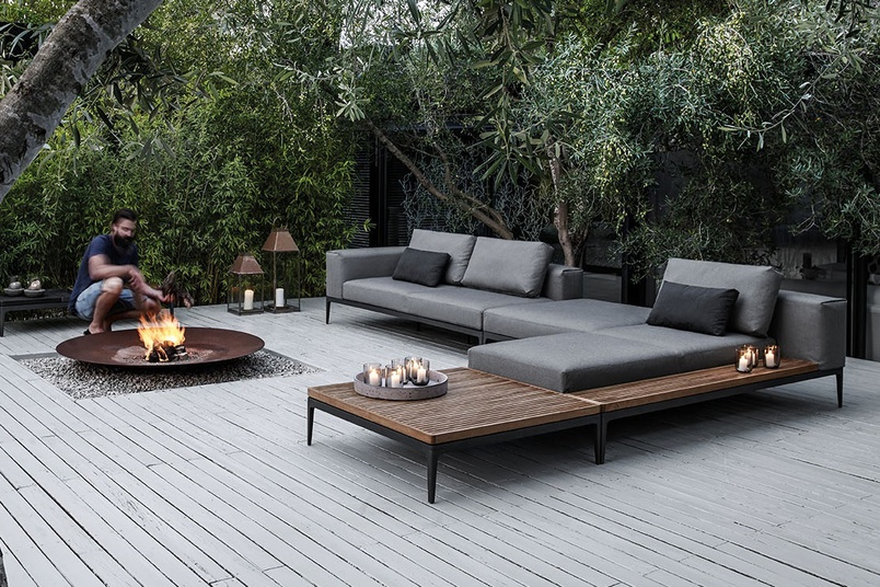 Grid modular outdoor sofa.