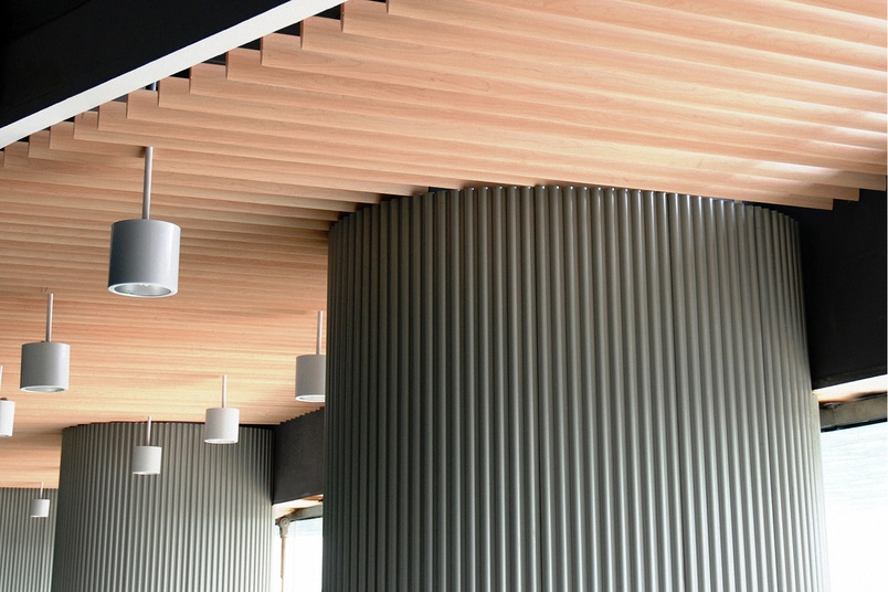 A Baffle Metal Ceiling in the Streamline profile.