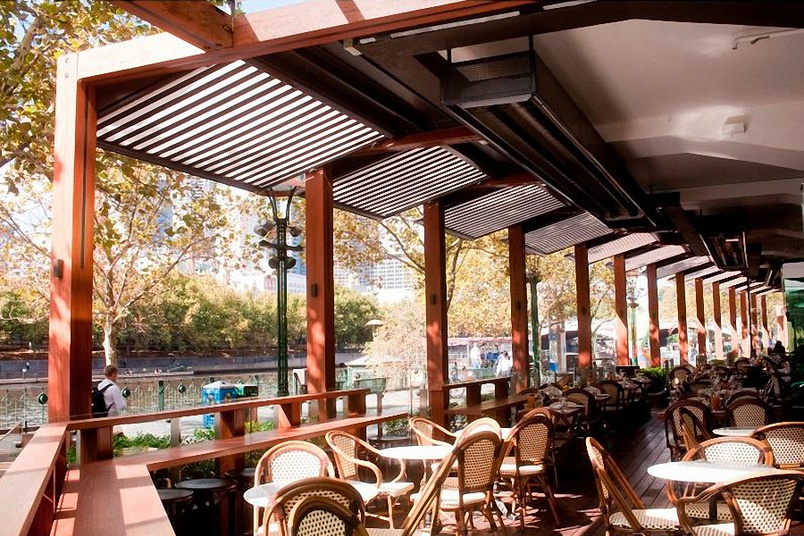 Motorized awnings at Southbank, Melbourne